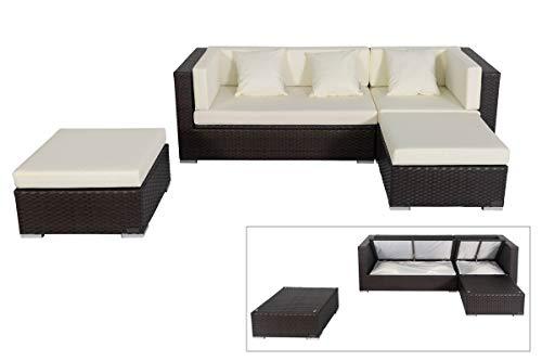 OUTFLEXX Loungemöbel-Set, braun aus Polyrattan-Geflecht, Loungeecke für 5 Personen, wasserfeste Kissenbox, Lounge Möbel