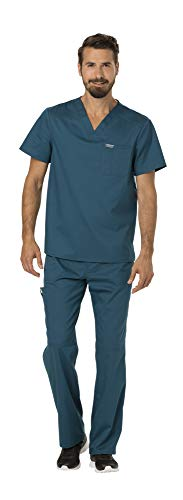 Cherokee Workwear Revolution Men's Medical Uniforms Scrubs Set Bundle - WW690 V-Neck Scrub Top & WW140 Zip Fly Cargo Scrub Pants (Caribbean Blue - X-Large/Large)