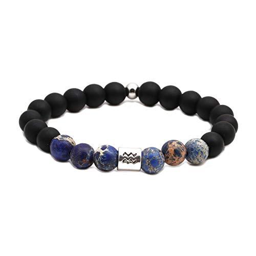 Natuurlijke stenen armband, kralen armband, 8 mm mode yoga energie Lucky armband vulkanische steen mat steen sterrenbeeld aquarius decoratie sport kralen yoga armband gepersonaliseerde kleding accessoires