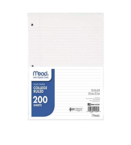 Mead Loose Leaf Paper, College Ruled, 200 Sheets, 10-1/2' x 8', Lined Filler Paper, 3 Hole Punched for 3 Ring Binder, Writing & Office Paper, K-12, 1 Pack (15326), White (.0 1 Pack)