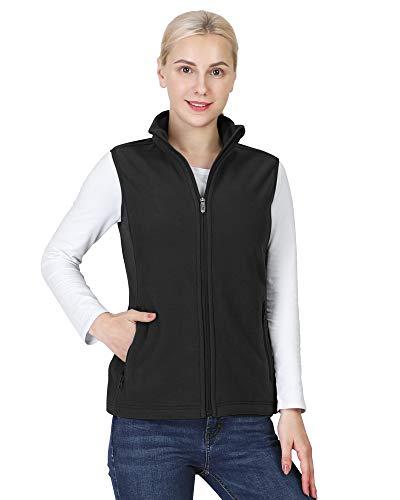 Outdoor Ventures Women's Polar Fleece Zip Vest Outerwear with Pockets,Warm Sleeveless Coat Vest for Winter Black