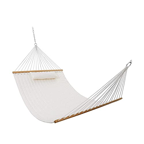 XiYou Dry Hammock Bamboo Wood Spreader Bars Outdoor Patio Yard Poolside Hammock with Chain Hanging Kits and Hooks, Waterproof and UV Resistance