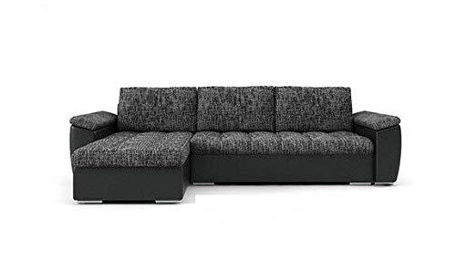 PM Ecksofa Schlaffunktion Bettfunktion Couch L-Form Polstergarnitur Wohnlandschaft Polstersofa mit Ottomane Couchgranitur - NICO-Links (schwarz + schwarzes...