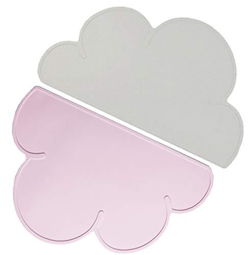 Liuer 2pcs BPA-frei Platzdeckchen,Kinder Silikon Untersetzer Tisch-Sets Platzset, Wolken-Form, Das Tischset für Essanfänger,rutschfest,abwaschbar,Platzdeckchen für Kinder,Tischunterlage für Baby
