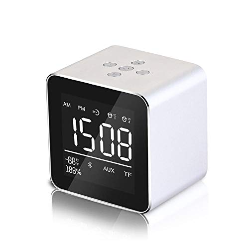 FPRW Mini Stereo Subwoofer Spiegel Display Stereo Wecker, mit Bluetooth Lautsprecher Bells Box, Snooze Mode Desktop Clocks, Silber