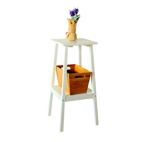 AJZGF Pin nordique à deux étages pots de fleurs blanches salon plancher-type fleur étagère Tablette (Color : White)