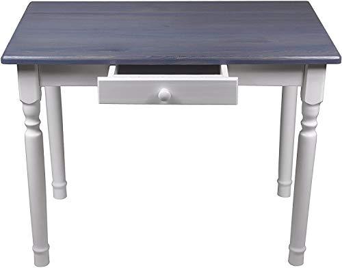 Magnetic Mobel Esstisch mit Schublade Küchentisch Tisch Massiv Kiefer Speisetisch massiv (70x70 cm, Grau)