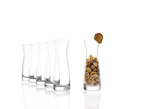 Stölzle Lausitz Karaffen, Serie Universal, Variante S, 100 ml, 6er Set Rotweinkaraffen, Weißweinkaraffen, Glaskaraffen für Snacks, aus feinem Kristallglas, bruchresistent und spülmaschinenfest