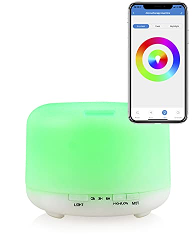 Humidificador de aceites esenciales Difusor de aromas ultrasónico 500mL Compatible con Alexa y Google Home, Multicolor, ambientador, aromaterapia