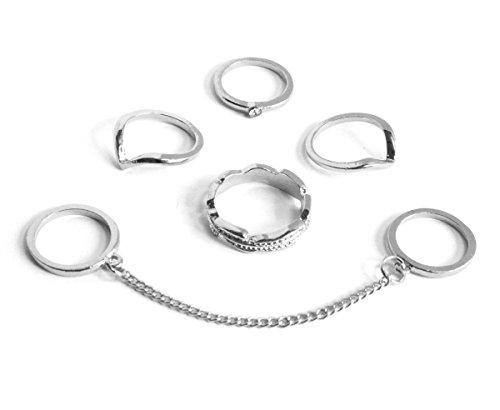 2LIVEfor Ringe Set für Damen Ringe Ethno Ringe one Size mit Steine besetzt geometrische Formen Midi-Ringe Stapelringe Silber und Gold Ringe mit Kette verbunden (Silber)