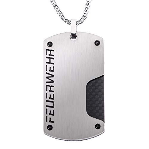 Feuerwehr Halskette Carbon I Halskette aus Edelstahl mit echtem Carbon I Geschenk für Feuerwehrmann | Freiwillige Feuerwehr I Feuerwehr Schmuck I Kameraden I Herrenschmuck I Geschenkidee