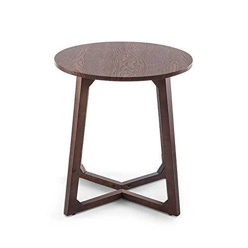 N/Z Living Equipment Nordic Massivholz Couchtisch Balkontisch Sofa Beistelltisch Ecktisch runder Kleiner Teetisch Walnuss Farbe 60CM