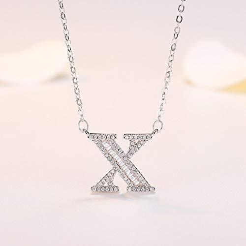 qwertyuio Collares para Mujer Plata De Ley 925 Cristal De Circonita Cúbica 26 Nombre Inicial Letra Colgante Collares Accesorios Regalo X