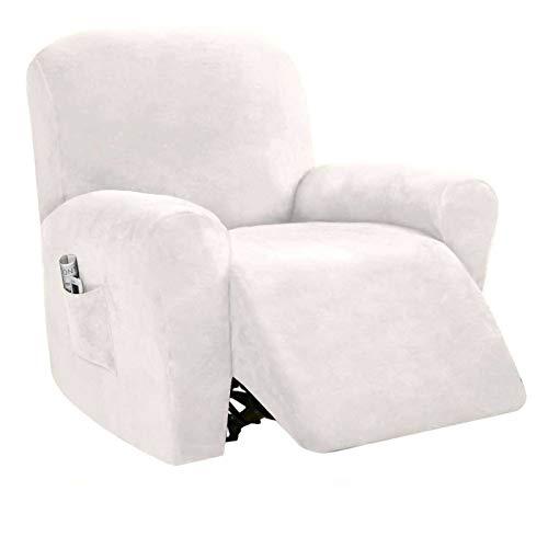 Strech Recliner Überzug Sessel Husse, Bezug für Relax Fernsehsessel 4-teilige Möbelschutz Couch Rich Velvet Plüsch Form Fit Stretch Stylish Soft Mit Elastischem Boden-weiss-Teilen Sie vier Teile