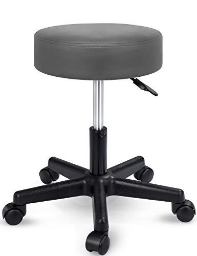 TRESKO Rollhocker höhenverstellbar Grau | Drehhocker 10 cm Dicke Polsterung | Arbeitshocker 360° drehbar | Hocker