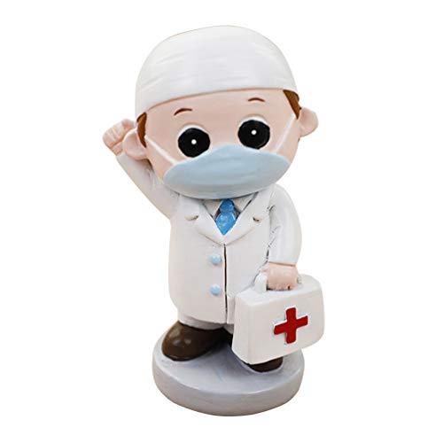 NONE Harz Arzt Krankenschwester Statue Cartoon Schrank Anzug Kuchen Topper Puppe Modell Miniatur Figur Souvenir Spielzeug Desktop-Ornament für Krankenhaus Absolventen Party (Weiß)