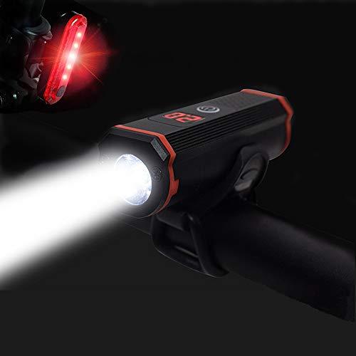 Fietslicht, WASAGA USB oplaadbare fiets Koplamp Fiets voorlicht Mountainbike licht 1000 Lumen LED-zaklamp met 5 modi, IP65, stroomindicator