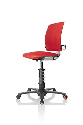 3Dee Active-Office-Chair | flexibel & fördert aufrechte Haltung | Basis: Schwarz | 3D-Beweglichkeit/natürliches Sitzen mit haltungsoptimierten Bewegungen, Stoffmuster:Ferraro-Rot