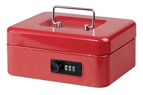 Burg-Wächter Money Code 5020 - Caja de caudales con cerradura de combinación e inserto para dinero duro, chapa de acero, color rojo