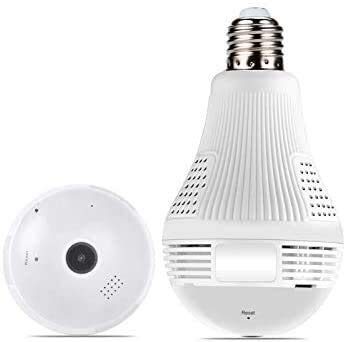 Cámara de Seguridad 360 ° de Gran Angular Fisheye WiFi IP Cámara Oculta Cámara LED LED 1080P HD Cámara de Seguridad de espía de Interior para Android iOS Vista remota Spy Nanny IP Cámara