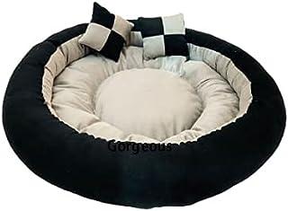 Gorgeous Reversible Super Soft Velvet Round Cat Dog Pet Bed Diameter 60 cms Height 22 cms S (Small, Black Cream)