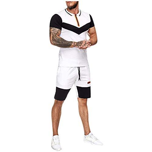 Andouy Herren Sportanzug für Sport Joggen und Training Kurzarm T-Shirt Fitness Shorts Kurze Hosen(L.Weiß)