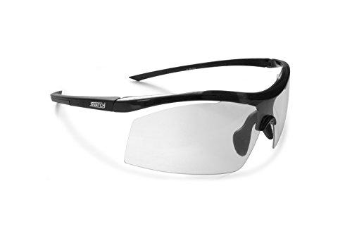 SNATCH Radbrille Selbsttönend Polarisiert - Fahrradbrille Photochrome Sportbrille Sonnenbrille Ski Laufen Golf Running by Italy (Matt Schwarz/Shiny Schwarz, Photochromen)