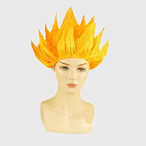 Junww Goku Cosplay Wigs Dragon Balls Super Saiyan Blue Red Black Yellow Goku Peluca Anime Men Adult Women Hair One Size Gold