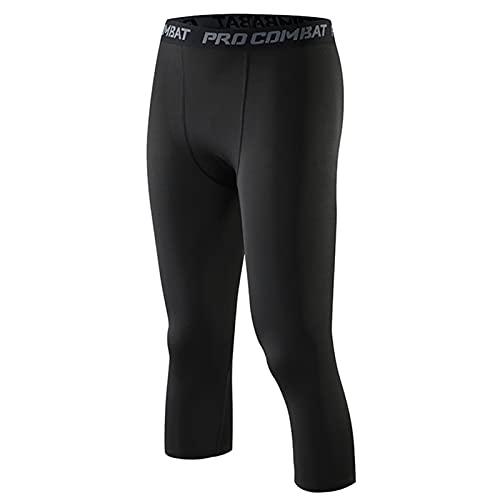 LYKH Hombres Legging De Compresión Pantalones, Alta Elasticidad Deporte Mallas Running Apretadas Tights Secado Rápido para Rutina De Ejercicio Gimnasio Culturismo,Black a,3XL