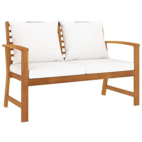 vidaXL Bois Solide dAcacia Banc de Jardin avec Coussin Canapé de Patio Banc dExtérieur Meuble de Jardin Terrasse Cour Crème 120 cm