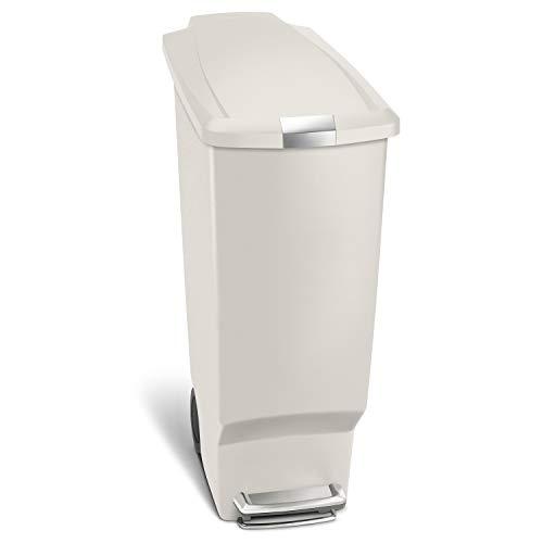 simplehuman Rectangular 40 Liter / 10.6 Gallon Slim Kitchen Step Trash Can with Secure Slide Lock, Stone Plastic