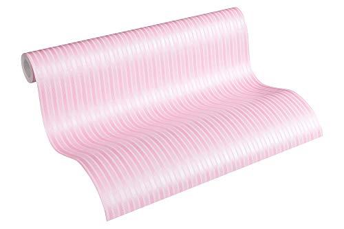 A.S. Création PVC-freie Vliestapete Little Stars Tapete gestreift 10,05 m x 0,53 m metallic rosa Made in Germany 355651 35565-1