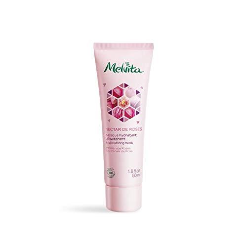 Melvita - Masque hydratant Nectar de Roses - Pour une peau repulpée, fraîche et hydratée en 5 minutes - Stop Tiraillements - Certifié Bio, Naturel à 99%, Vegan - Fabriqué en France - Tube 50ml