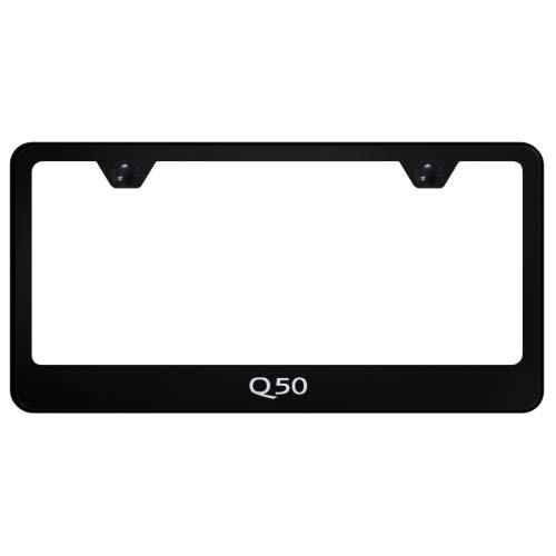 Infiniti Q50 License Plate Frame Laser Etched Stainless Steel Standard Black Powder Coat