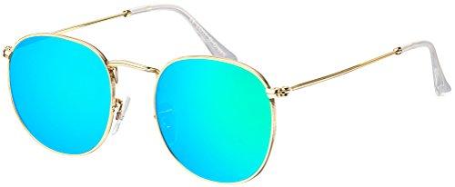 Sonnenbrille La Optica UV 400 Schutz Unisex Damen Herren Retro Rund Round Trend - Gold (Gläser: Grün verspiegelt)
