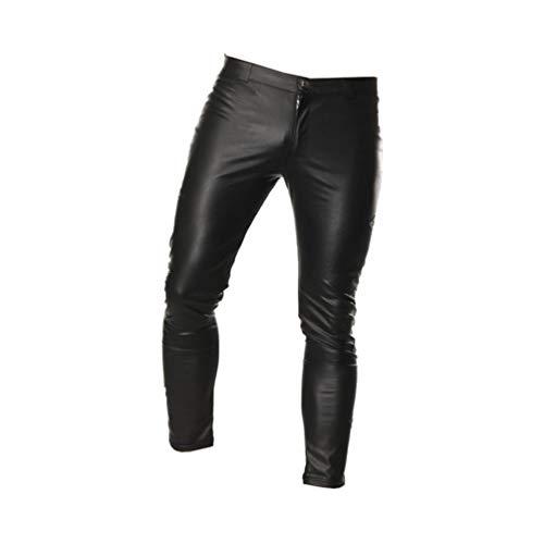 HEALLILY Herren Lederhose Slim Fit Skinnypants Reißverschlusshose für Nachtclub Cosplay Sex Rollenspiel (Schwarz Xl)