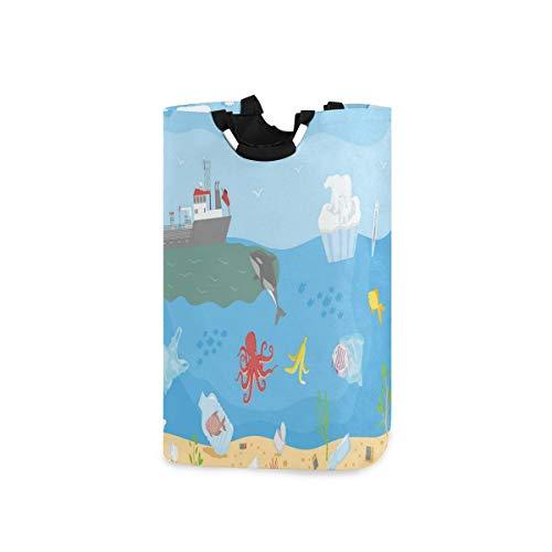 DYCBNESS Cesto para la Colada,Salvar el Concepto de océano Medio Ambiente Limpio Higiene Aire Calentamiento Global Contaminación,Cesta de lavandería Plegable Grande,Papelera de Lavado Plegable