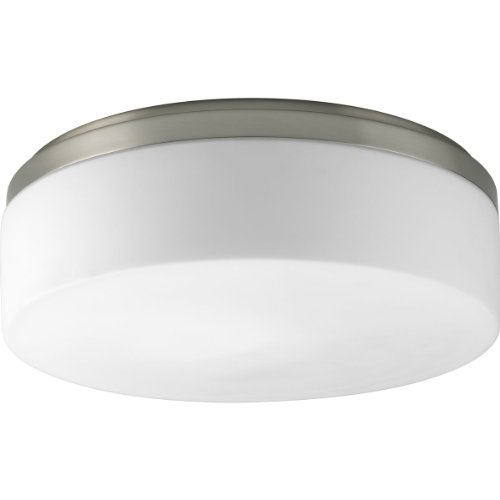 Progress Lighting P3911-09 2-Light Close to Ceiling with Etched White Opal Diffuser, Brushed Nickel