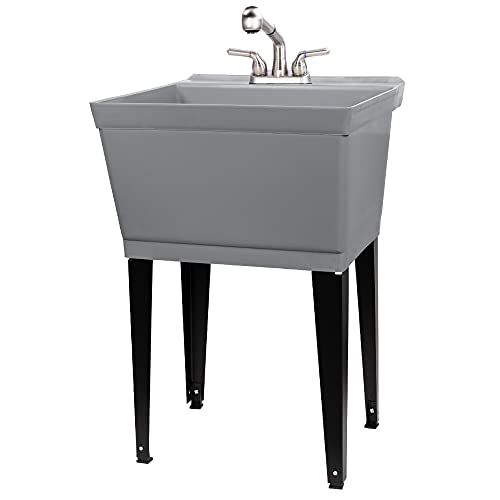 Grey Utility Sink Laundry Tub With Pull Out Stainless Steel Finish Faucet, Sprayer Spout, Heavy Duty Slop Sinks For Basement, Garage or Shop, Large Free Standing Wash Station Tubs and Drainage