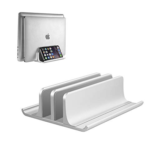 VAYDEER Double Adjustable Vertical Laptop Stand Newly Designed 2 Slot Aluminum Desktop Dual Holder for All MacBook/Chromebook/Surface/Dell/iPad Up to 17.3 Inches - Silver