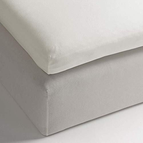 Heckett Lane Perkal Uni Hoeslaken Topper 140x200+12 cm - Off-White