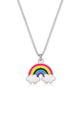 Elli Collana Kinder Regenbogen Wolke Emaille Happy 925 Silber