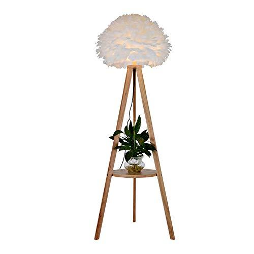 LXHK Lámpara de Pie Trípode LED con Estante y Mesa, Pantalla de Plumas Blancas Moderna Luz Piso de Salón de Madera, Lámpara de Lectura E27 para Oficina de Estudio de Dormitorio