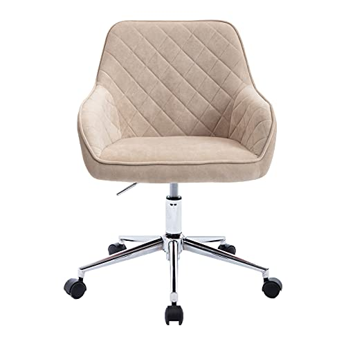 Home Office Chair, Velvet Desk Chair Task Chair with Back/Arm, Modern Height Adjustable Swivel Chair Upholstered Fabric Chair for Living Room Study Office, Leisure Office Chair with Wheels, Beige