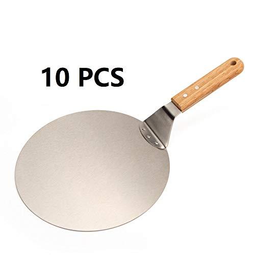 HandingSM Pizzaschieber aus Edelstahl, rund, Backwerkzeug mit Holzgriff zum Backen von Pizza, Kuchen auf Pizzastein und in Ofen und Grill.