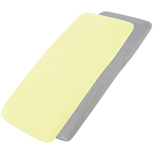 for Your Little One Jersey Fitted Sheet Compatible with Tutti Bambini Cozee Bedside Crib 55x90cm - 1x Lemon / 1x Light Grey