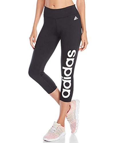 adidas Women's Fab Climalite Essentials 3/4 Capri Linear Training Tights Pants (Medium, Black)