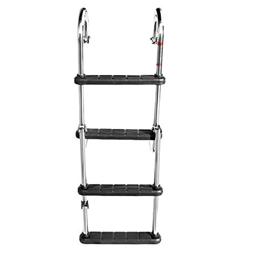 MAYANGLILIWENJUDIAN Accessori marini Accessori per Barche Escalator Marino 4 Step Telescoping Ladder in Barca in Acciaio Inox Acciaio Inossidabile Banco Anteriore Dock SIWMMMING Scaletta