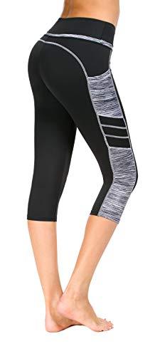 Flatik Damen Netzoberfläche Sport Gym Yoga Laufen Fitness Leggings Hose, Schwarz Grau(3/4 Capri), M