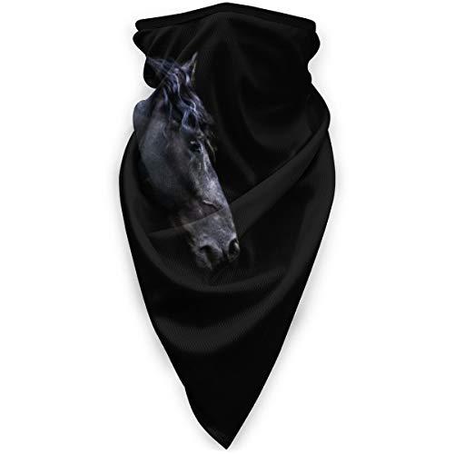 BJAMAJ Zwart Paard Zwarte Achtergrond Outdoor Gezicht Mond Mask Winddicht Sportmasker Ski Mask Shield Sjaal Bandana Mannen Vrouw